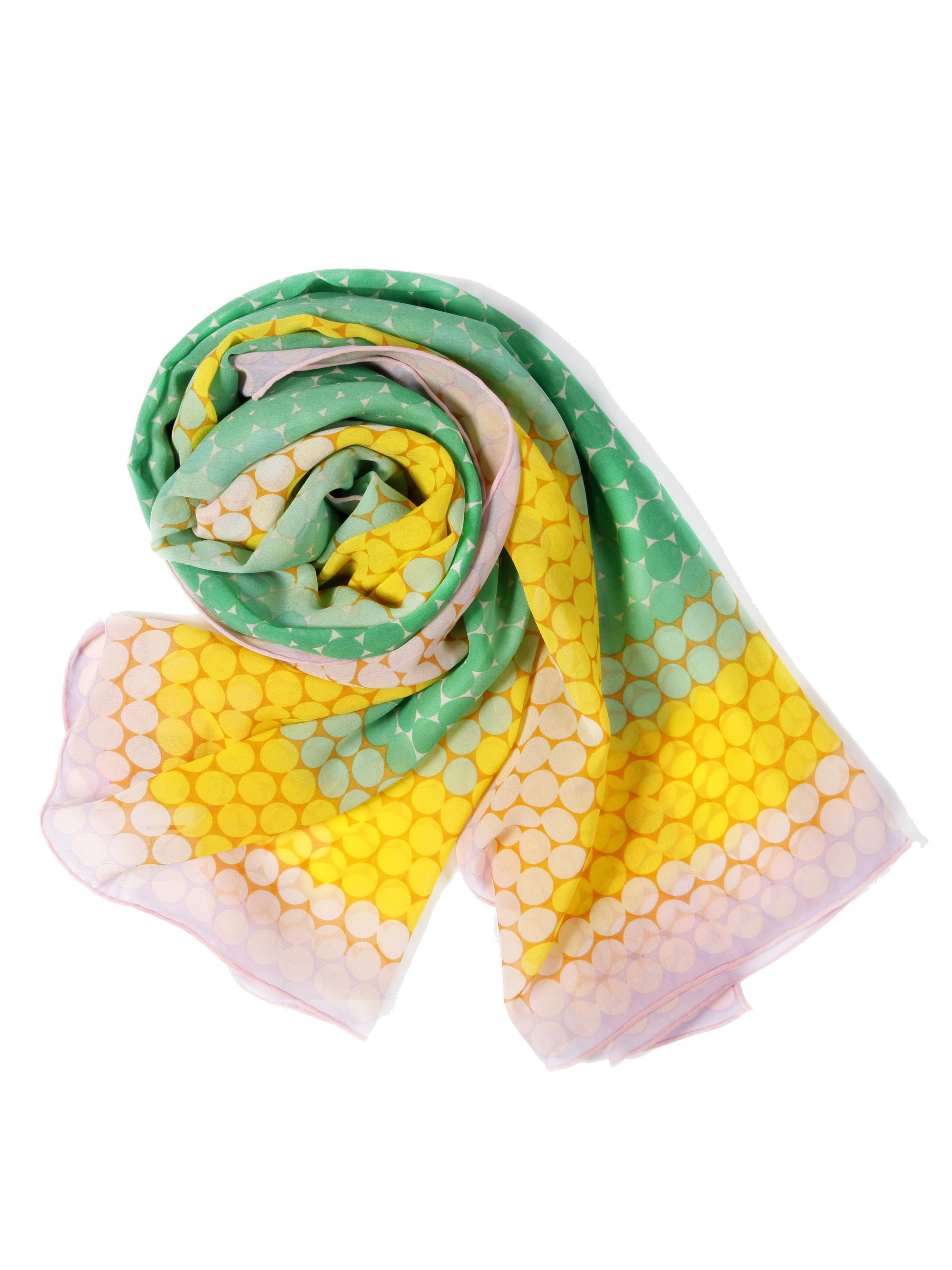 Fresh Rainbow Color Mulberry Silk Long Scarf