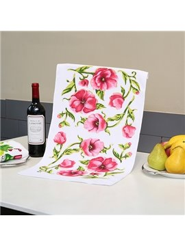 Chic Fresh Pink Flower Printing Ultrafine Fiber Towel