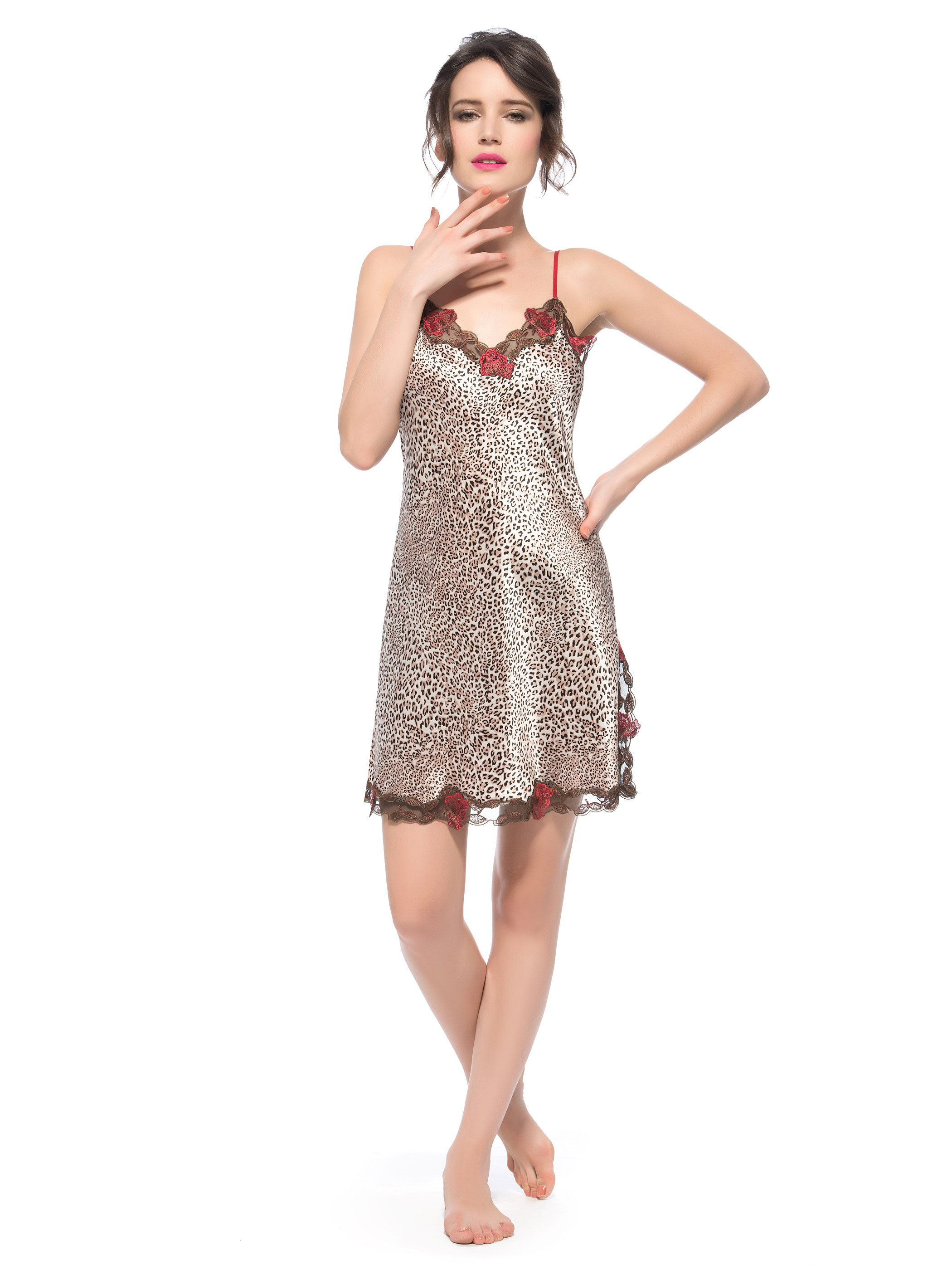 Rose Trim Bust Side Split Leopard Silk Cheimise