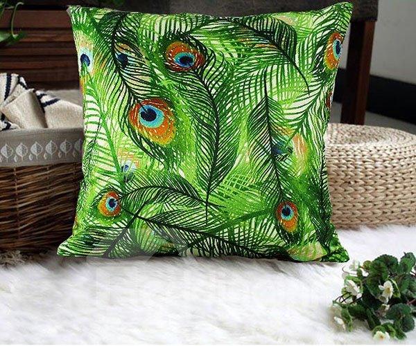 Luxury Green Peacock Feathers Print Plush Throw Pillow Case
