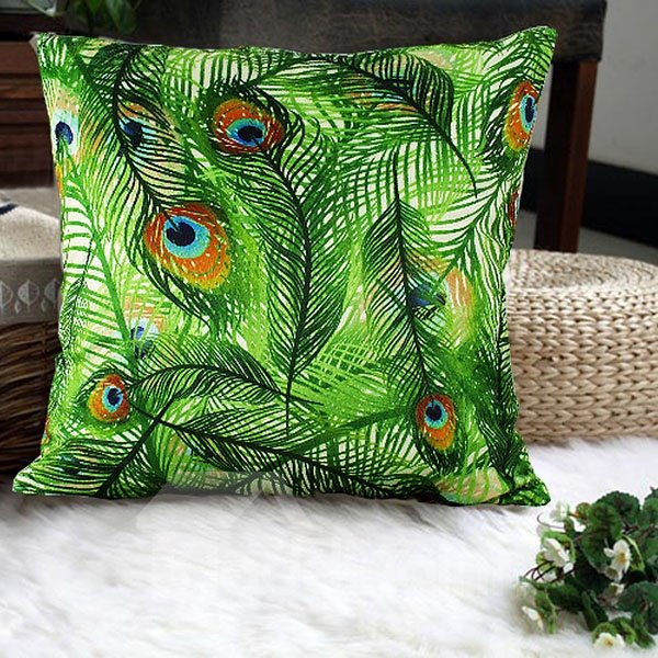 Luxury Green Peacock Feathers Print Plush Throw Pillow Case