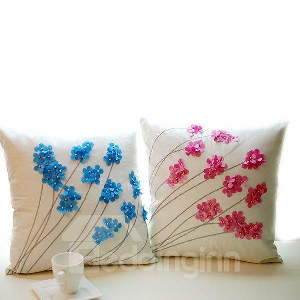 Graceful Flowers Design Canvas Throw Pillow Case