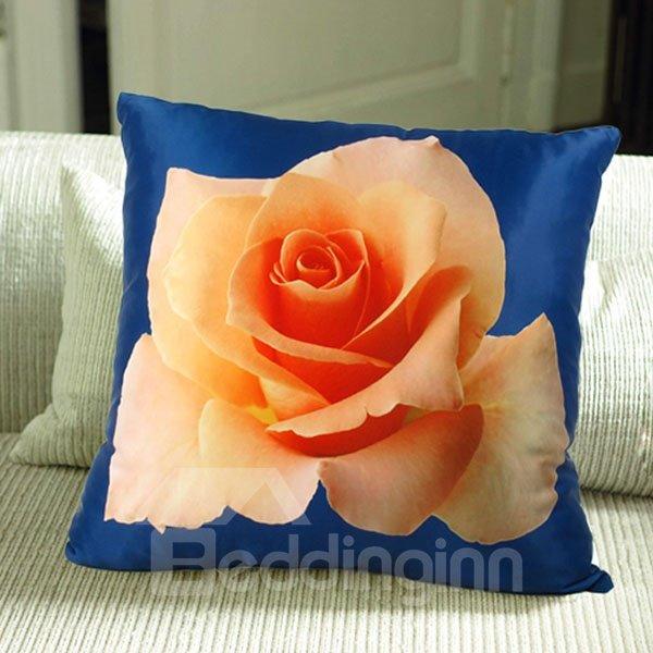 Orange 3D Rose Print Plush Throw Pillow Case