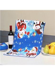 Attractive Brisk Santa and Snowman Printing Christmas Theme Dark Blue Towel