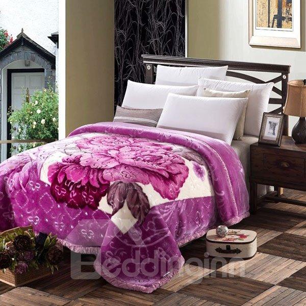 Super Thick and Warm Purple Peony Print Blanket