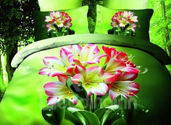 Bouquet Print Green 4-Piece Cotton Duvet Cover Sets