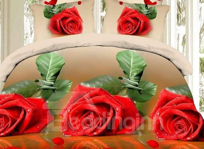 Red Rose Print with Brown Background Polyester 4-Piece Duvet Cover Sets