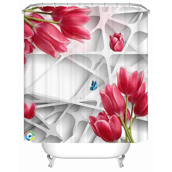 Creative Design Gridding and Red Rose 3D Shower Curtain