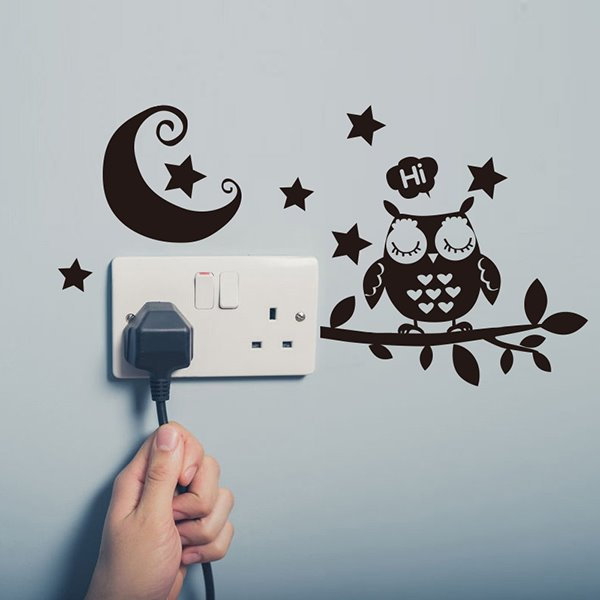 Cute Cartoon Owl on a Branch and The Moon 2-Piece Light Switch Sticker