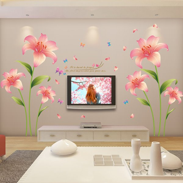 Gorgeous Pink Lily Extra Large Bedroom TV Wall Removable Wall Sticker