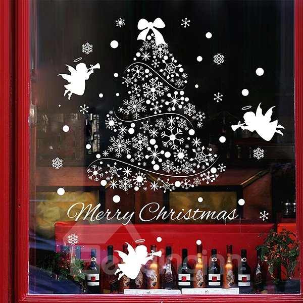 Wonderful Window Glass Decoration Christmas Tree and Angels Removable Wall Sticker