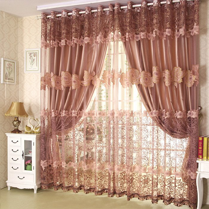 Breathable Polyester Sheer and Lace Embroidered 2 Panels Custom Sheer Curtain