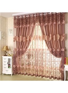 Luxury Golden Color Lace Embroidery Custom Sheer Curtain
