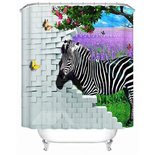 Wonderful Fabulous Lavender Sea and Zebra 3D Shower Curtain