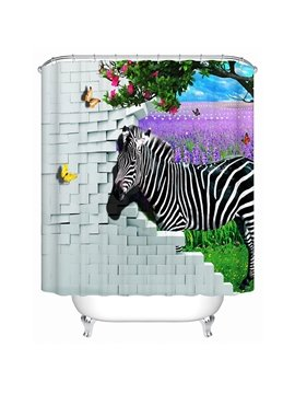 Wonderful Fabulous Lavender Sea and Zebra 3D Shower Curtain