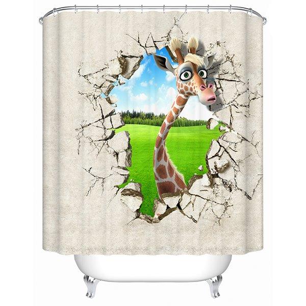 Innovative Design Cartoon Lovely Deer 3D Shower Curtain