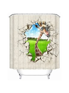 Innovative Design Cartoon Lovely Deer 3D Shower Curtain