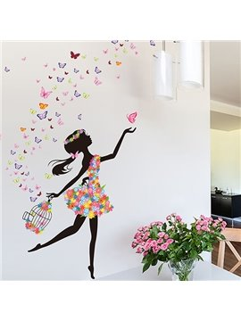 Wonderful Flower Fairy and Butterfly Bedroom Nursery Removable Wall Sticker