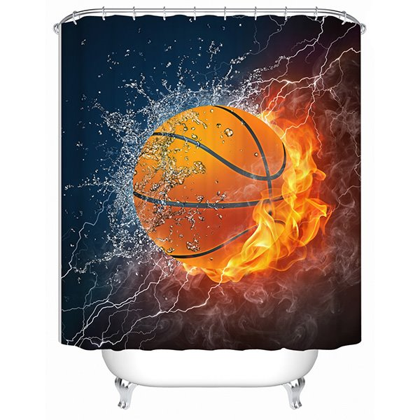 Innovative Design Fire and Water Basketball 3D Shower Curtain