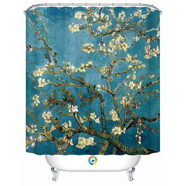 Asthetic Design Graceful Branches and Flower 3D Shower Curtain