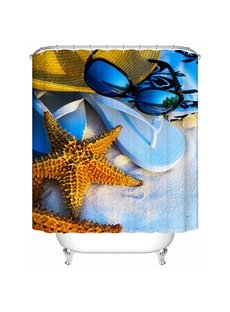 Wonderful Fashion Sandbeach and Starfish 3D Shower Curtain