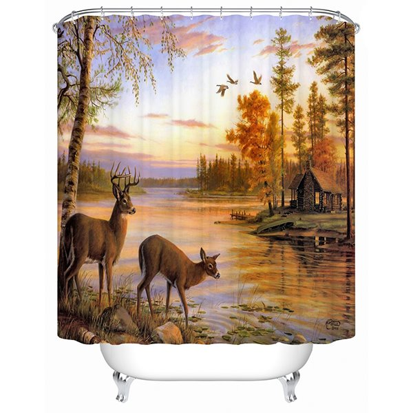 3D Deer Beside River Printed Polyester Bathroom Shower Curtain
