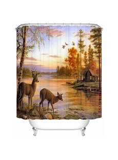 Peaceful Warm Natual Landscape Lovely Deer 3D Shower Curtain