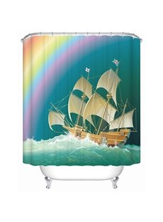 Glamorous Charming Rainbow and Clipper 3D Shower Curtain