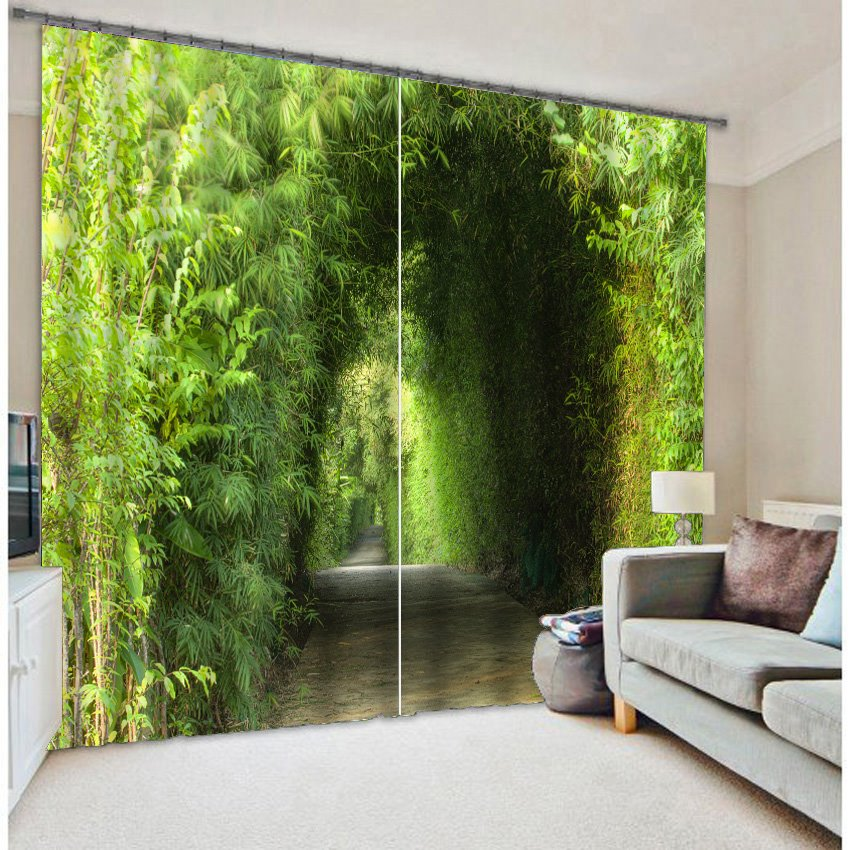3D Green Trees Corridor Printed Natural Scenery Two Panels Blackout and Decorative Curtain