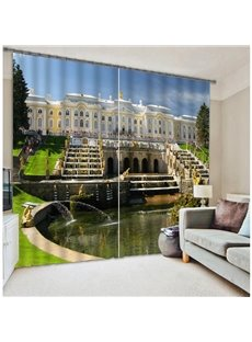 High Quality Polyester 3D Scenery Two Panels Curtain