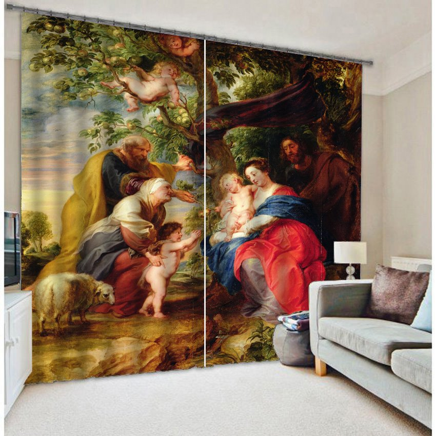 3D People with Apple Tree Printed Oil Painting 2 Panels Decoration and Blackout Curtain