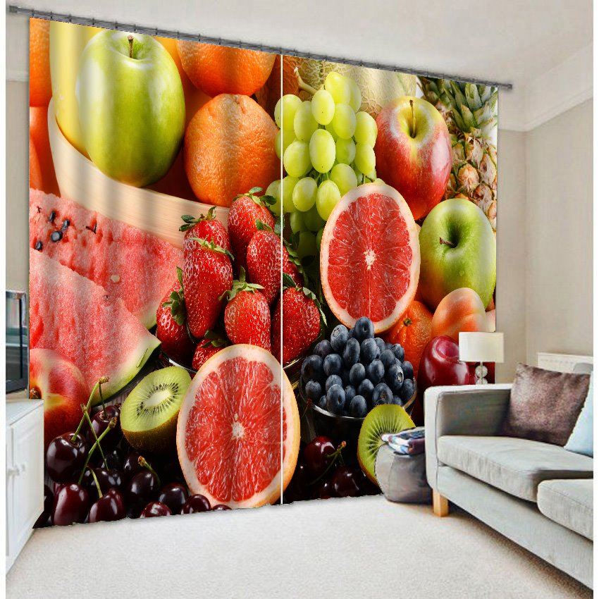 3d Reactive Printing Two Panels Polyester Curtain Pic