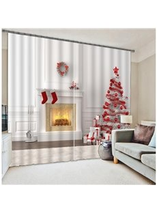 3D Christmas Decoration Print Energy Saving Curtain