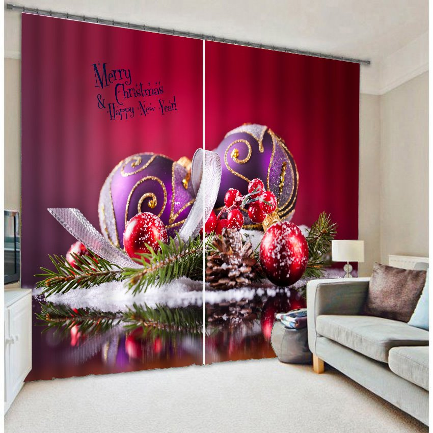 3D Merry Christmas Tree and Decorations Printed Decorative and Blackout Curtain