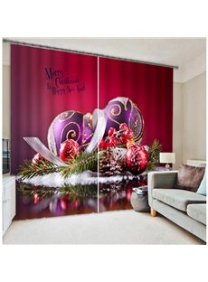 Vibrant Red Color 3D Merry Christmas Blackout Curtain