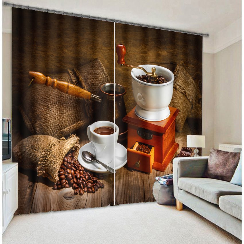 3D Coffee Beans and Coffee Cup Set Printed Modern Style Custom Curtain