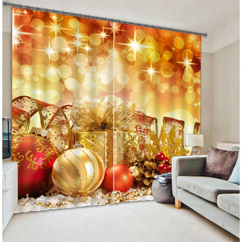 3D Golden Festival Ornaments Printed Two Panels Decorative Custom Polyester Curtain