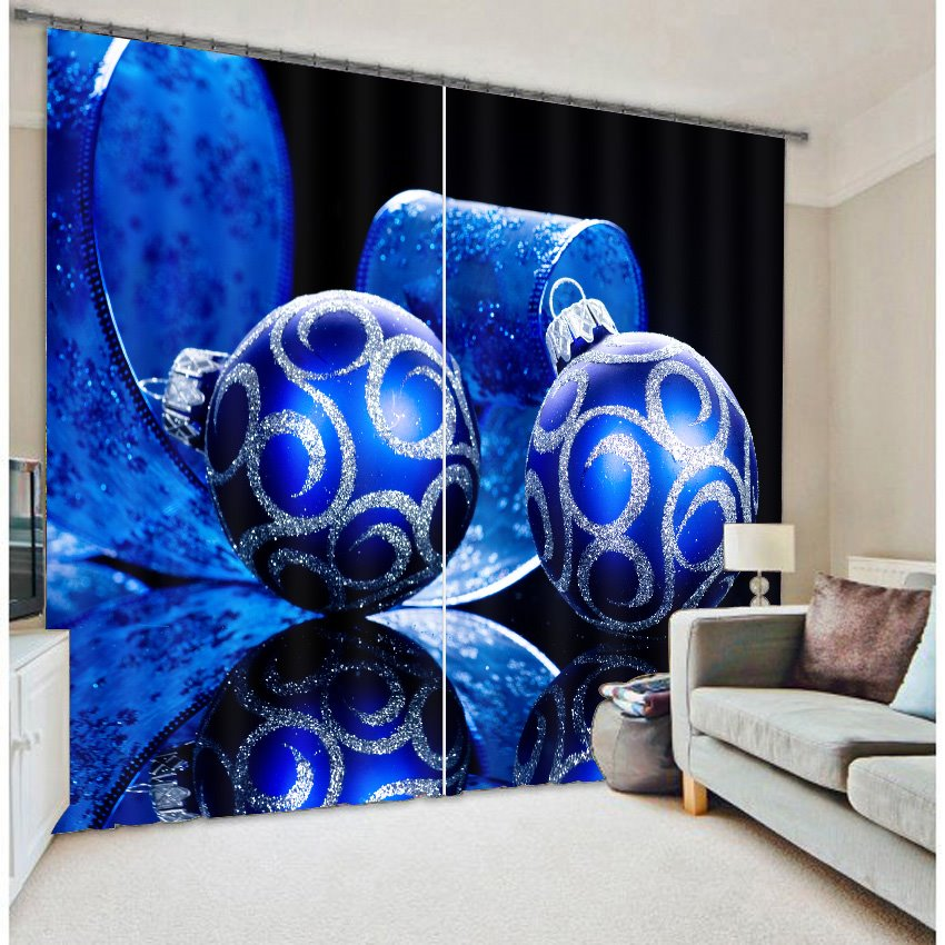 Rich Blue Color 3D Christmas Gifts Polyester Curtain