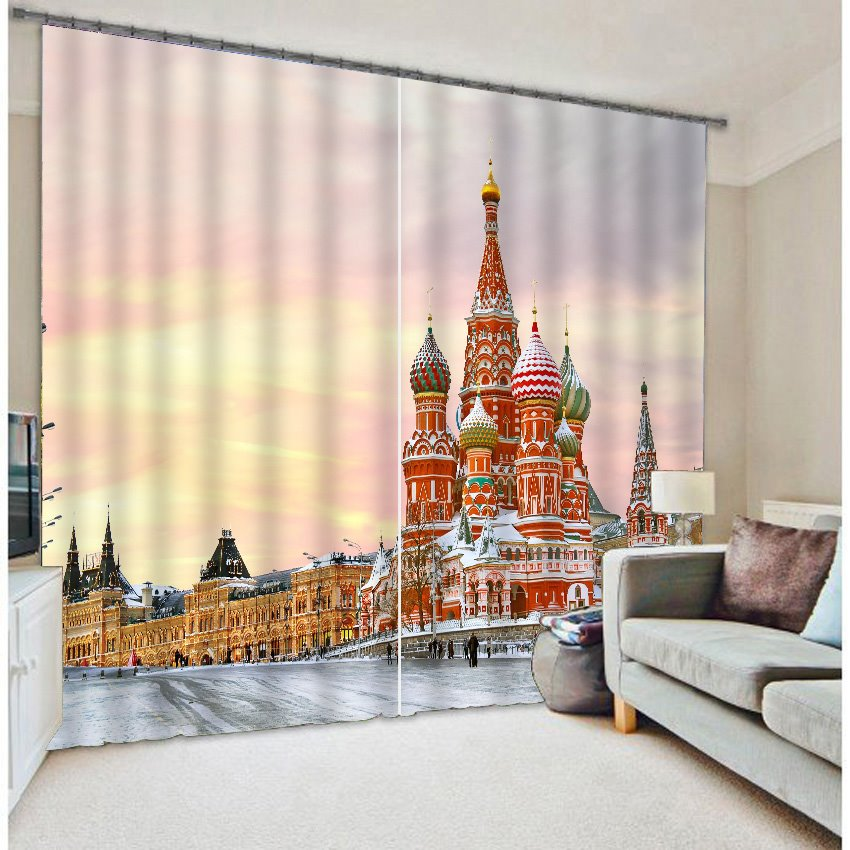 3D Great Architecture Heat Insulation Curtain