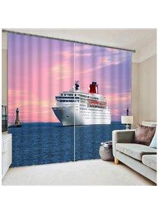 3D Ship on the Ocean Print Noise Reducing Curtain