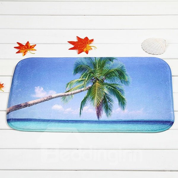 Wonderful Palm Tree At Sea Coral Velvet Anti-Slipping Doormat