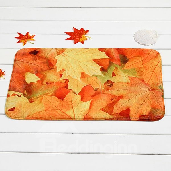 Gorgeous Maple Tree Leaves Coral Velvet Anti-Slipping Doormat