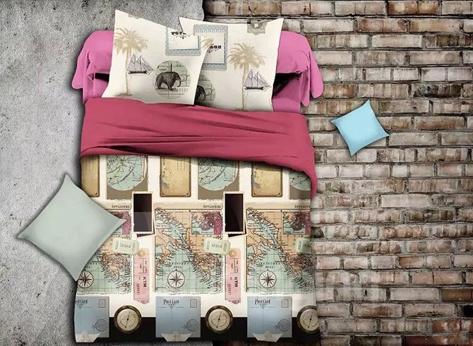 Creative Map Print Polyester 4-Piece Duvet Cover Sets
