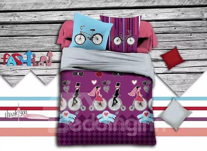 Romantic Lovers Print Purple Polyester 4-Piece Duvet Cover Sets