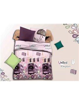 British Bus Print Pink 4-Piece Duvet Cover Sets