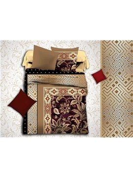 European Jacquard Design Brown Polyester 4-Piece Duvet Cover Sets