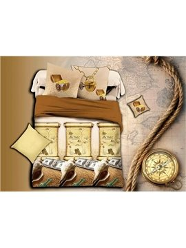 Creative Conch Print Brown 4-Piece Duvet Cover Sets