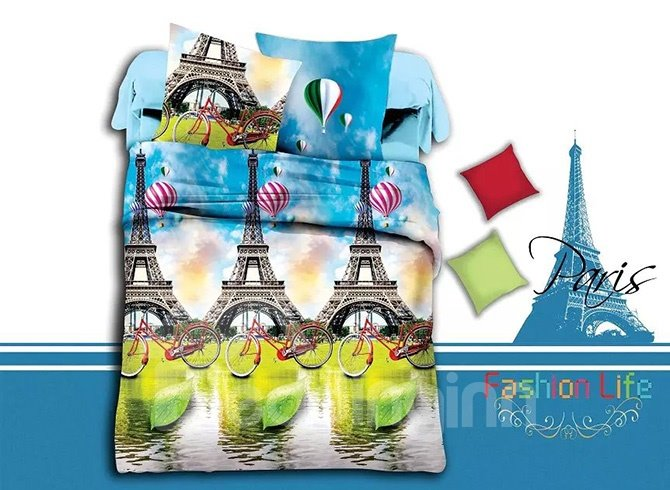 Eiffel Tower and Bicycle Print 4-Piece Polyester Duvet Cover Sets