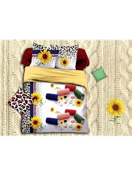 Yellow Sunflowers Leopard Design Polyester 4-Piece Duvet Cover Sets