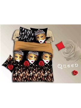 Sexy Lady Wearing Mask and Rose Print 4-Piece Duvet Cover Sets